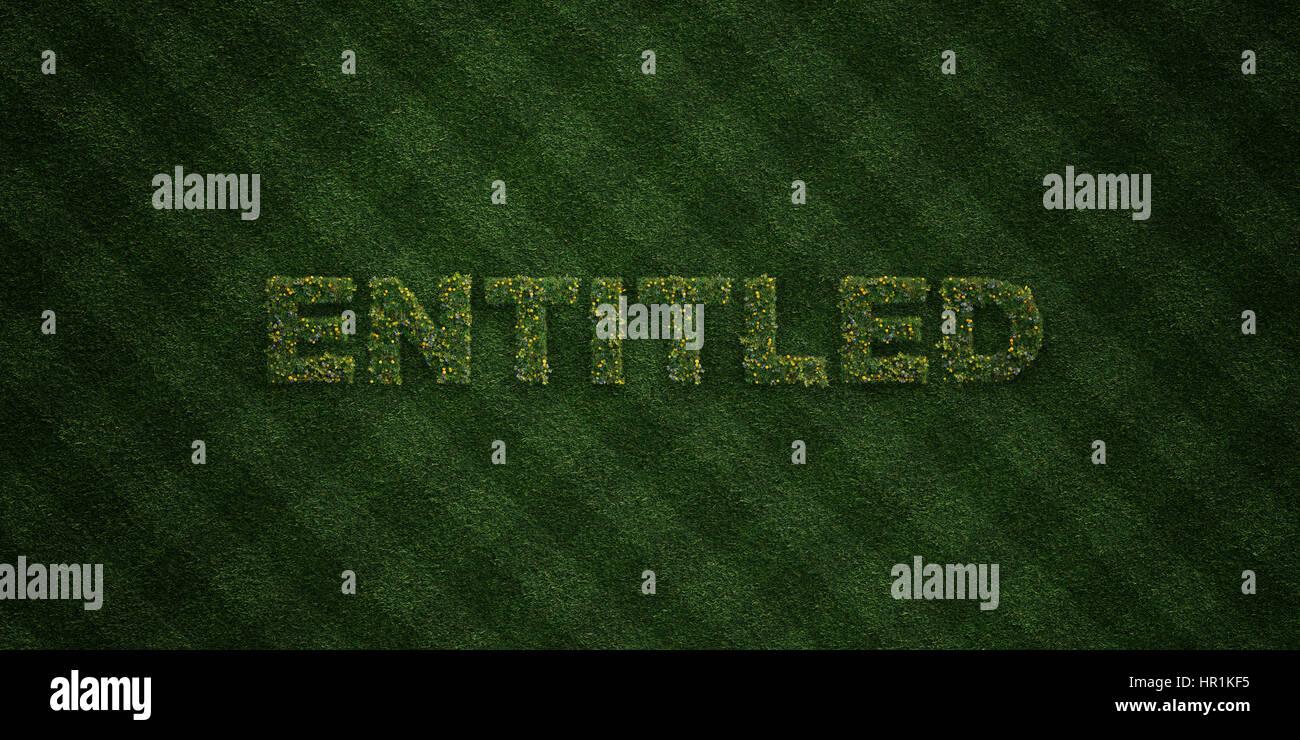 BERECHTIGT - frisches Grass Briefe mit Blumen und Löwenzahn - 3D gerenderten Royalty free stock Bild. Einsetzbar Stockbild