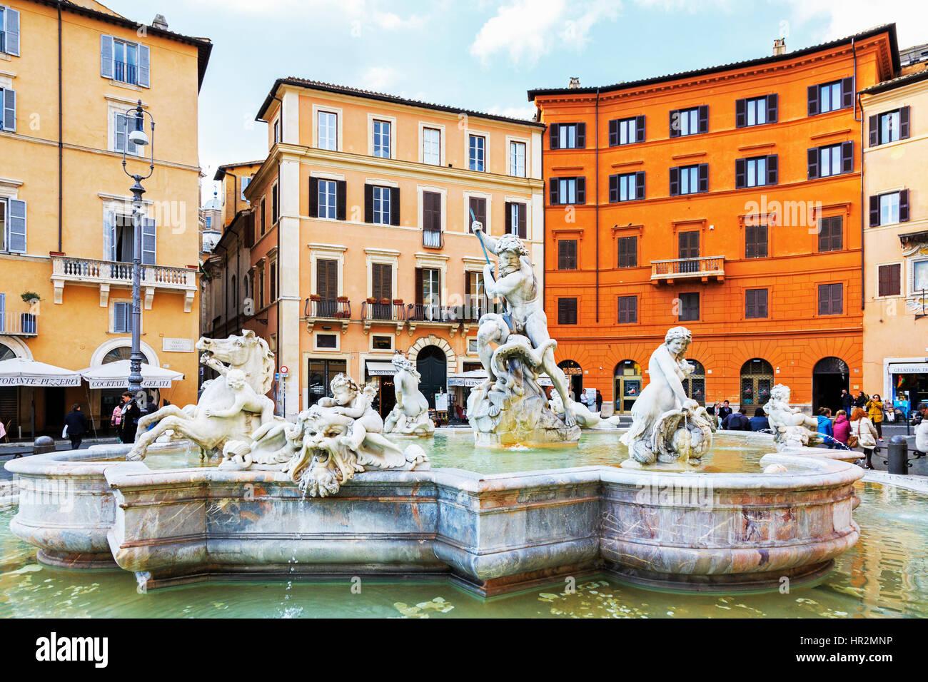 Wasser-Brunnen auf der Piazza Navona, Roma, Italien Stockbild