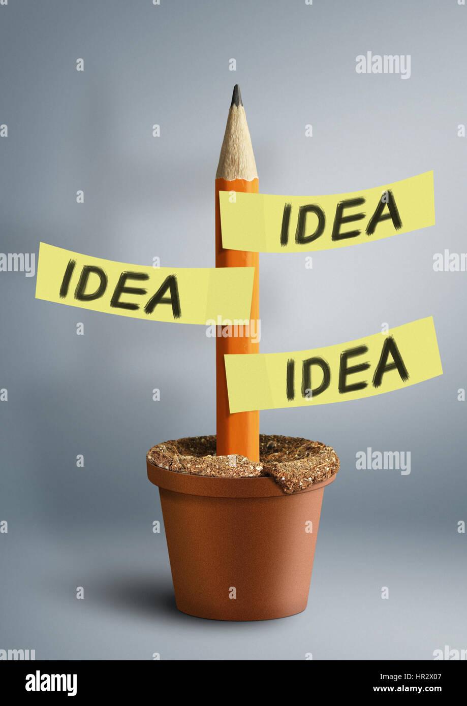 Kreative Idee Konzept, Bleistift mit Aufklebern Stockbild