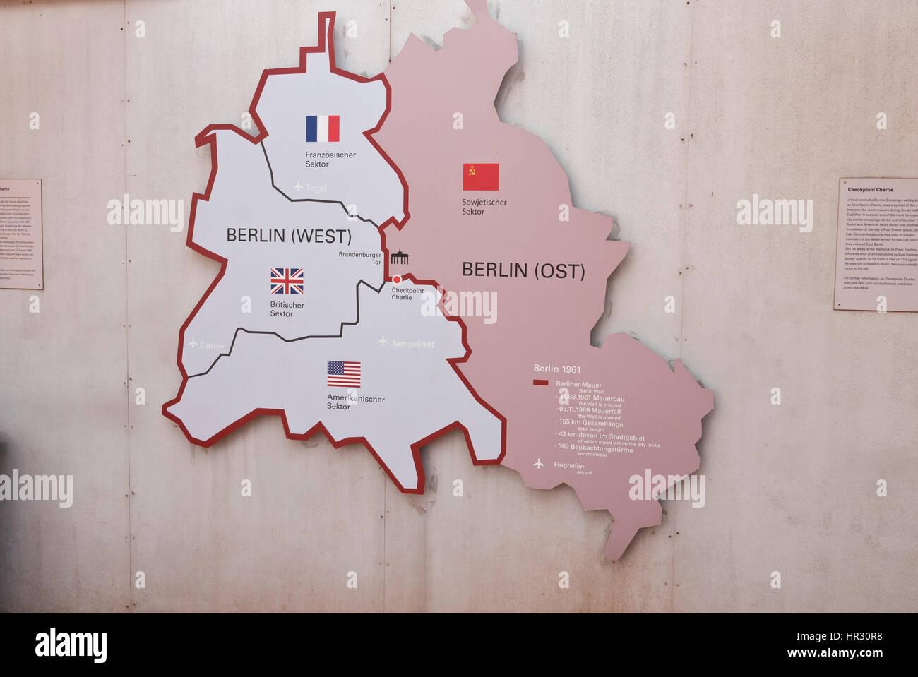 Karte Von Ost Und West Berlin Deutschland Stockfoto Bild