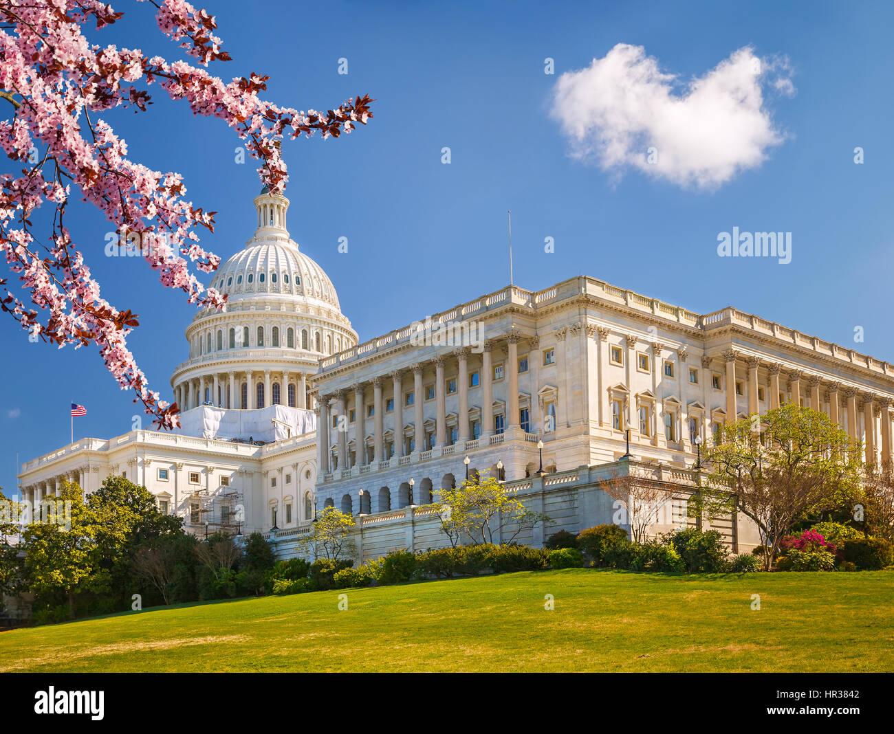 U.S. Capitol am sonnigen Frühlingstag Stockbild