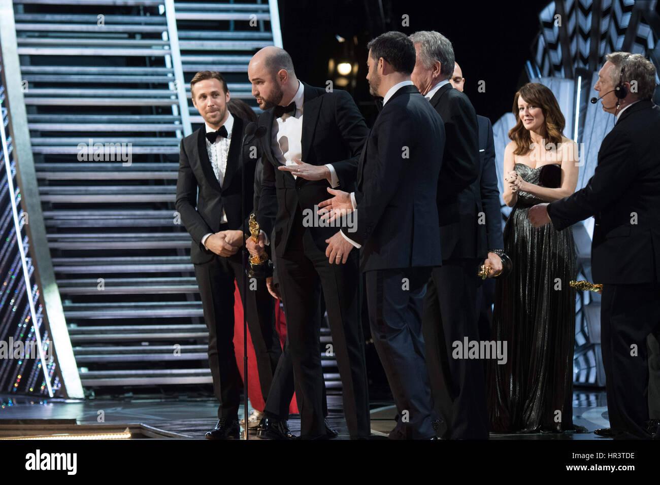 "Hollywood, CA, USA. 26. Februar 2017.  -Jimmy Kimmel. Gastgeber Jimmy Kimmel informiert der Besetzung von ""La Stockbild"