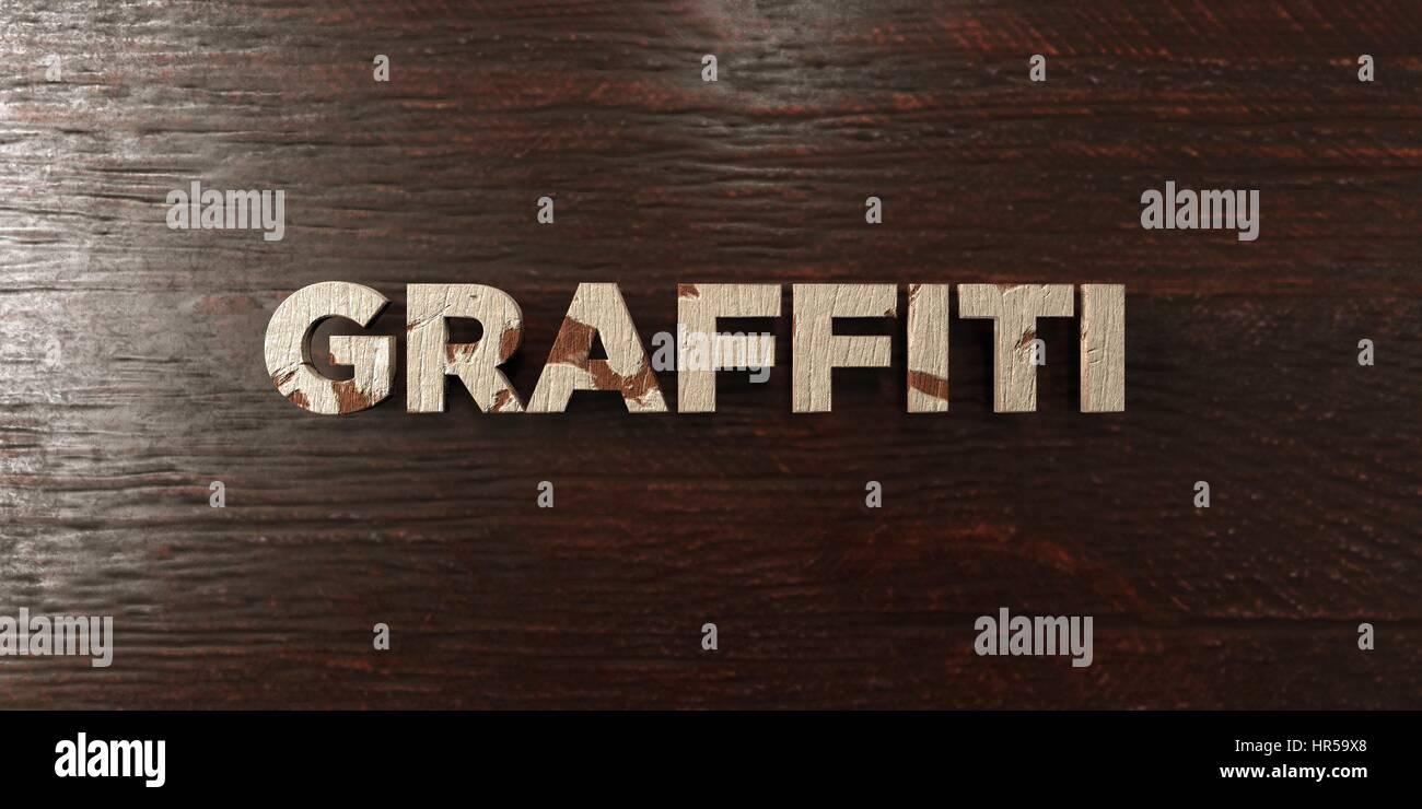Graffiti Grunge Holz Schlagzeile Auf Ahorn 3d Gerenderten