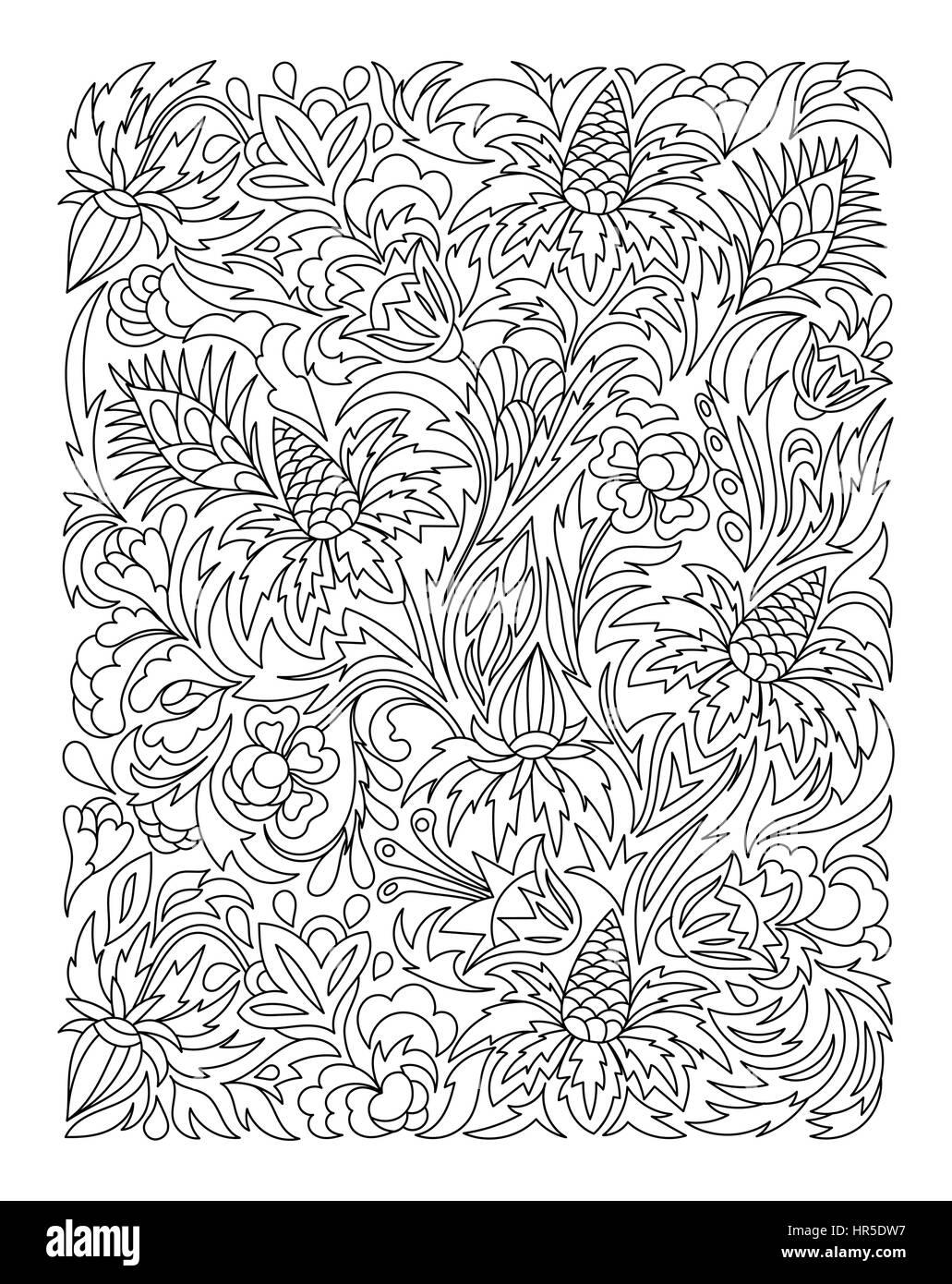 Malvorlagen mit Vintage Blumen-Muster Vektor Abbildung - Bild ...