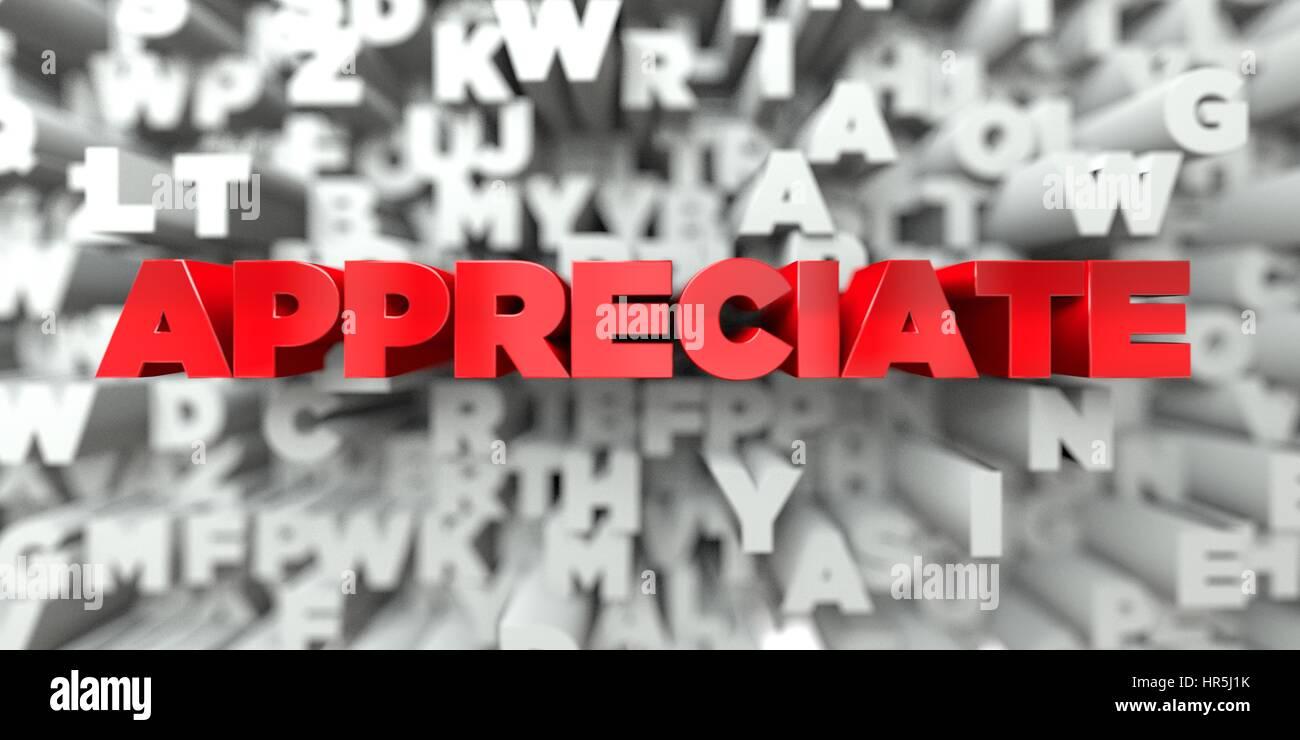 SCHÄTZEN - roter Text auf Typografie Hintergrund - 3D gerenderten Lizenzgebühren frei Bild. Dieses Bild Stockbild