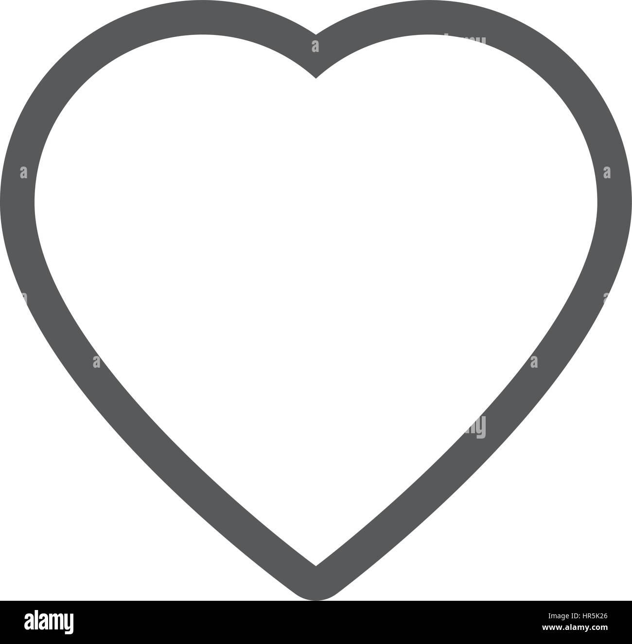 Graustufen-Kontur mit Herz-Symbol Stockbild