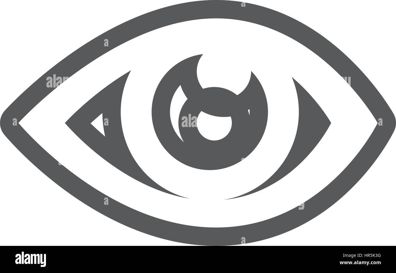 Graustufen-Kontur mit Augensymbol Stockbild