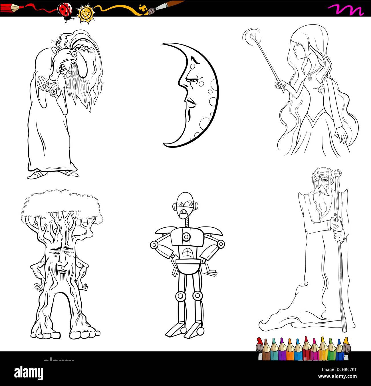 schwarz  weiß cartoon illustration von fantasiefiguren
