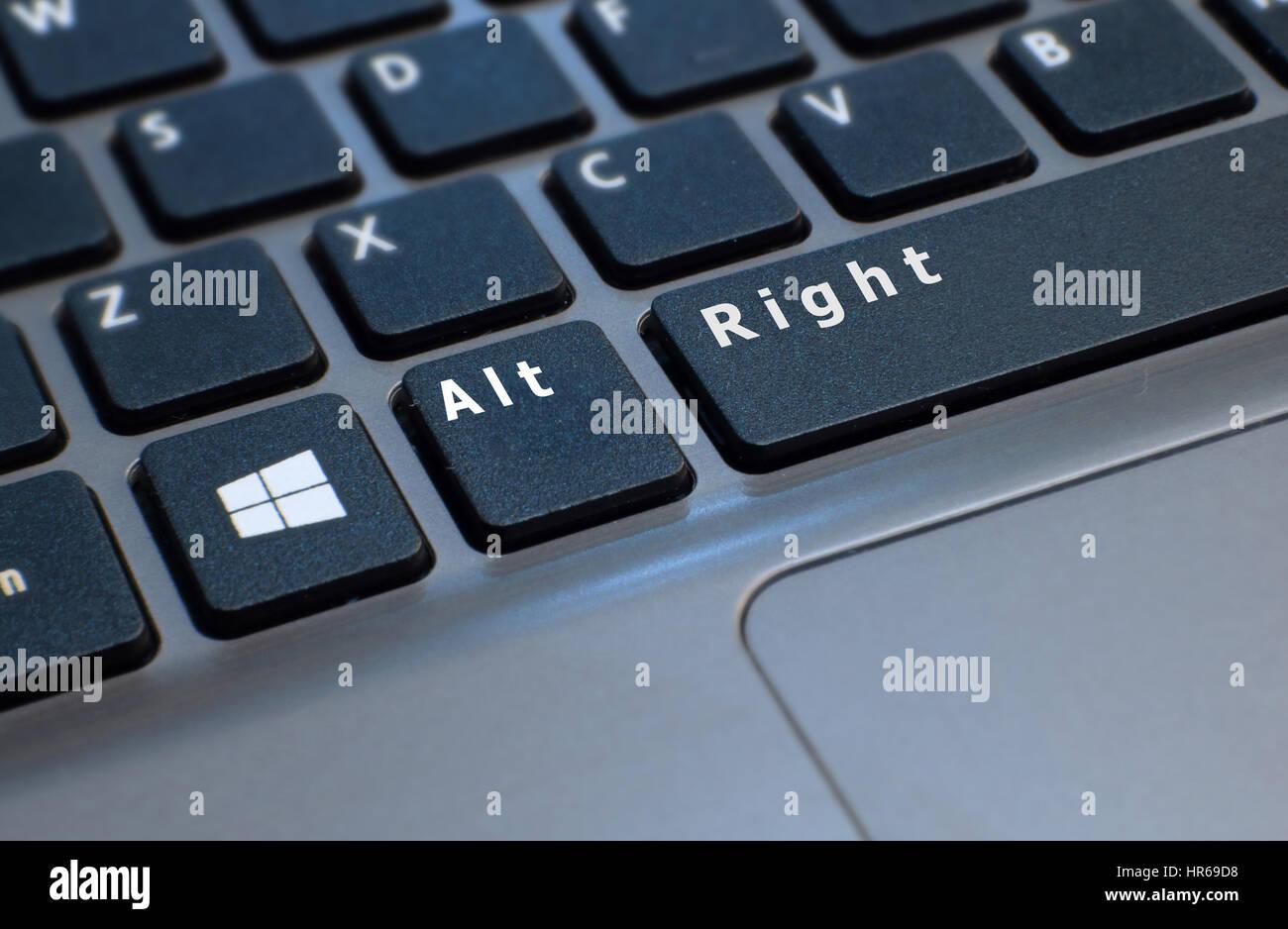 Ein Foto einer Laptop-Computer-Tastatur retuschiert, um Schlüssel lesen Alt rechts zeigen. Verweisen auf die Stockbild