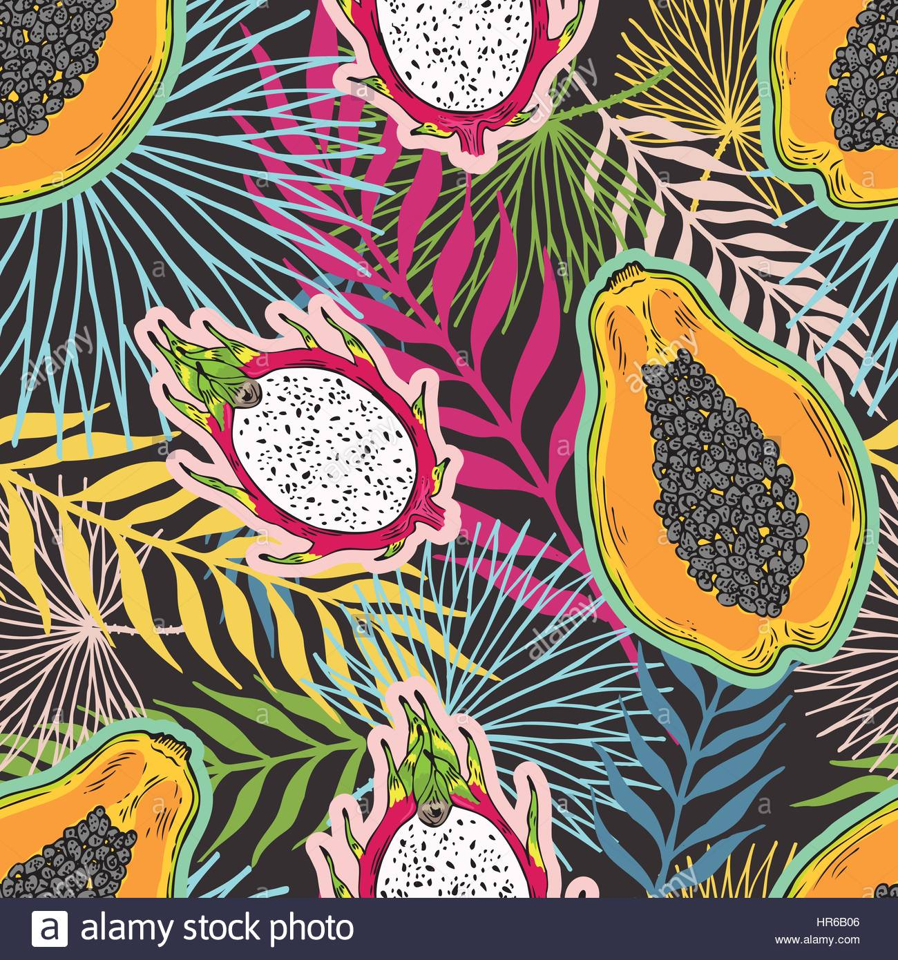 Muster von Früchten Papaya und Pitaya auf die Farbe der tropische ...