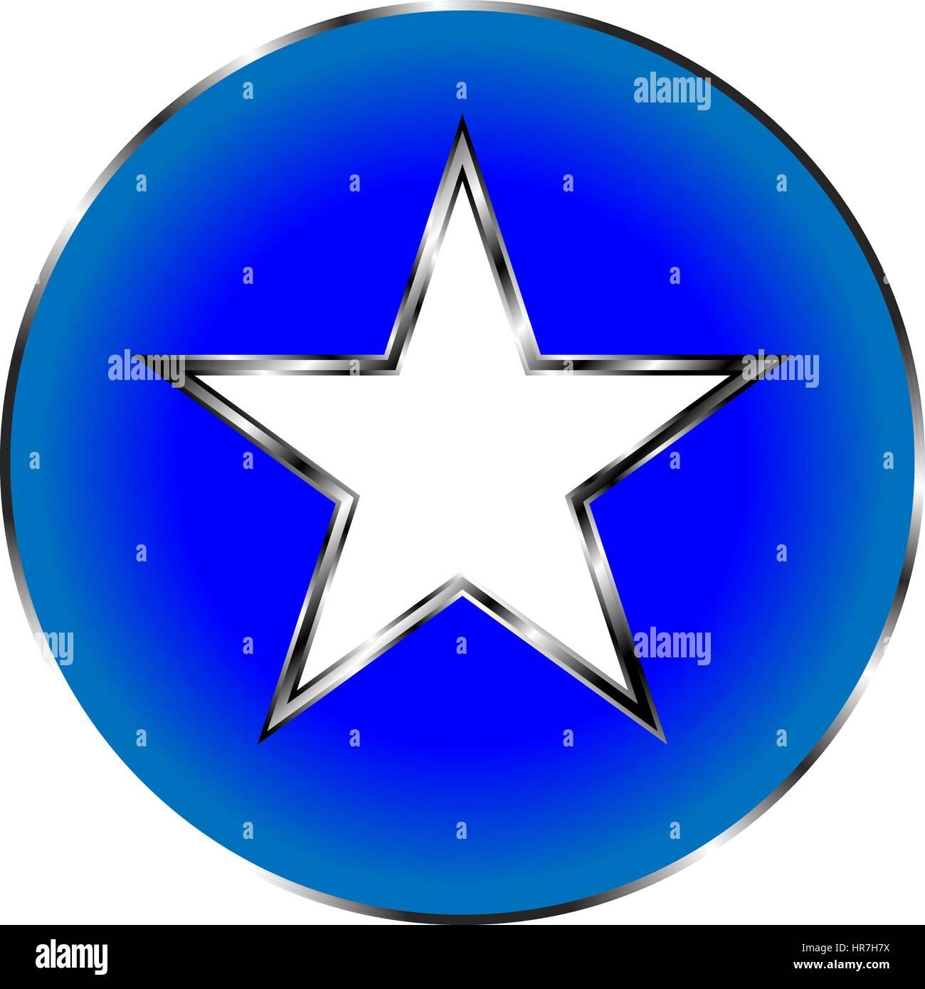 Fünfzackigen Stern Schaltfläche Stern Symbol Metall Stern Vektor ...
