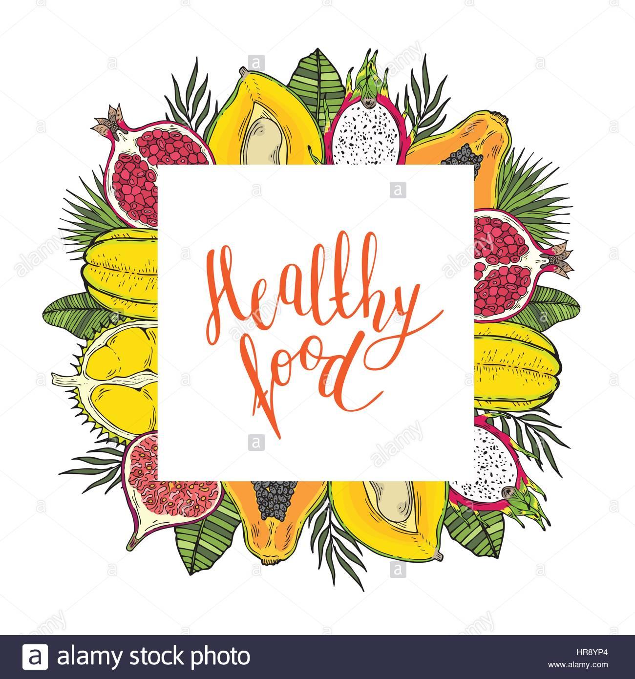 Quadratischer Rahmen der Früchte und tropische Blätter. Mit den ...