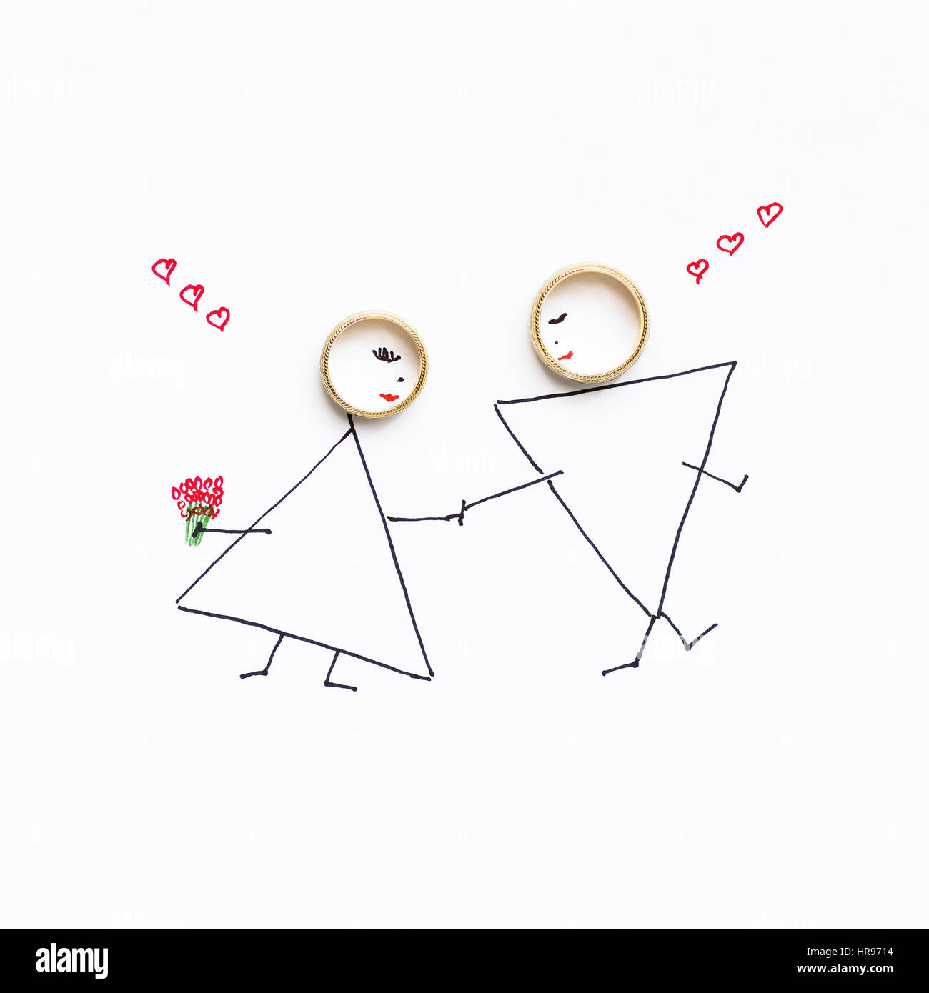 Hochzeit Ringe Im Bild Mit Der Braut Und Brautigam Gemalt Von Braut