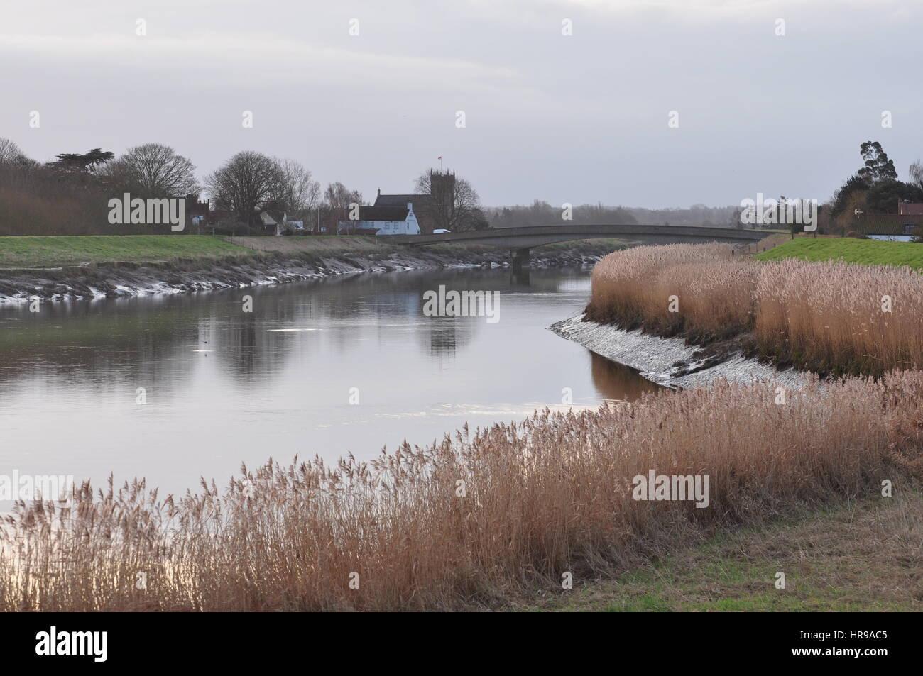 Fluss Great Ouse bei deutschen Wiggehall St, Norfolk UK Stockbild