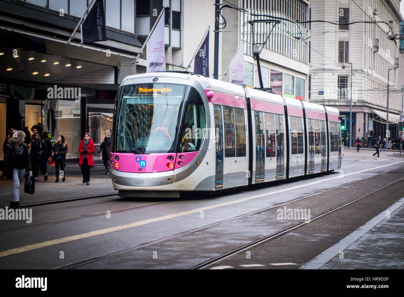Birmingham-Straßenbahn, Corporation Street Birmingham, UK Stockbild