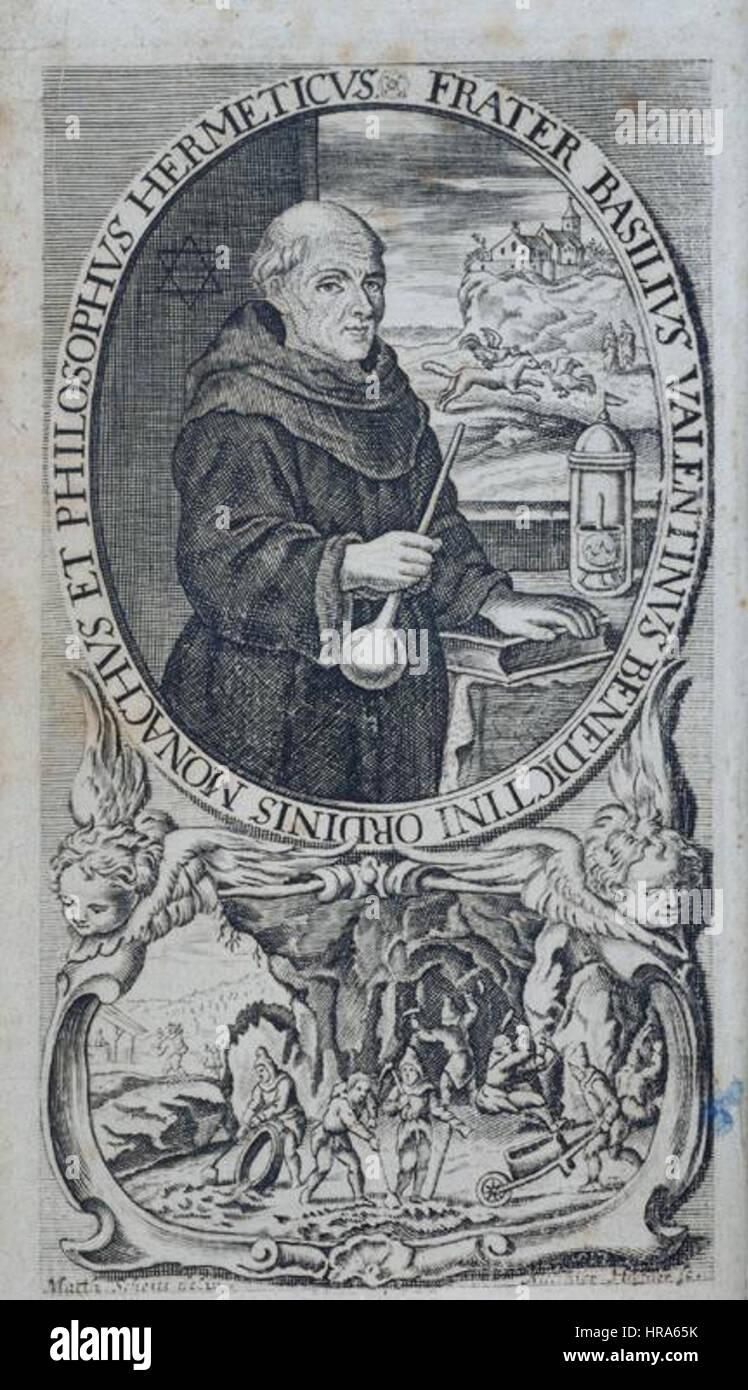 Chymische Schrifften 1717 Basilius Valentinus Frontispiz Stockbild