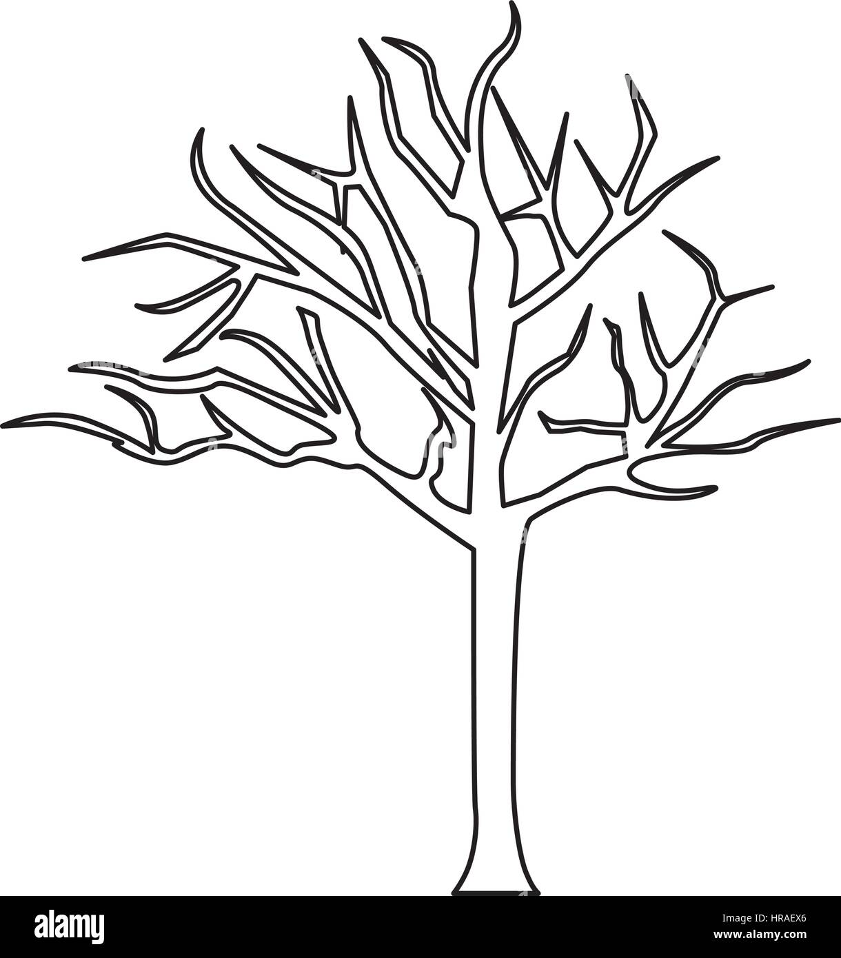 silhouettebaum mit Ästen ohne blätter stockvektorgrafik