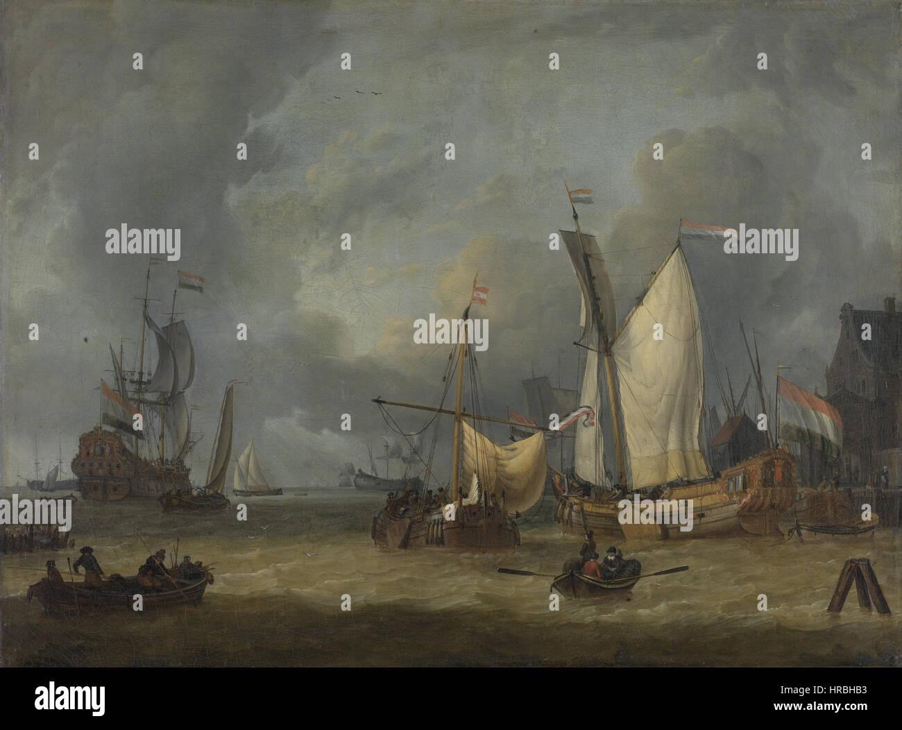 Löwener in de Haven Bij Een Stevige Bries Tür Jan Claesz Rietschoof (1652-1719) Stockbild