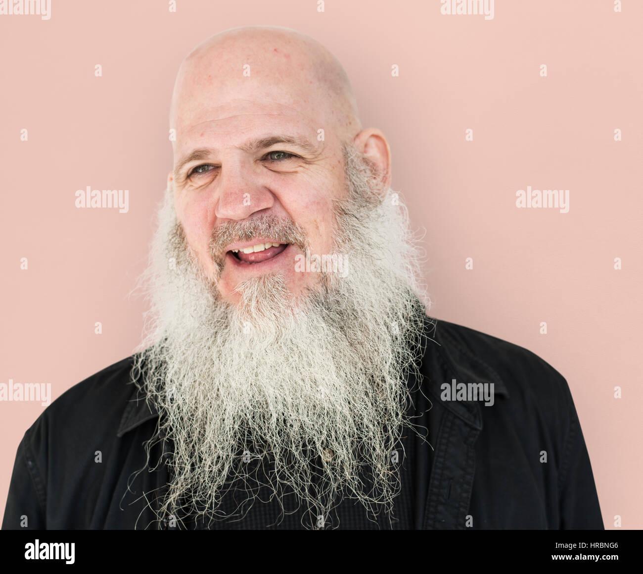 Männer Erwachsenen Langen Bart Glatze Lächeln Stockfoto Bild