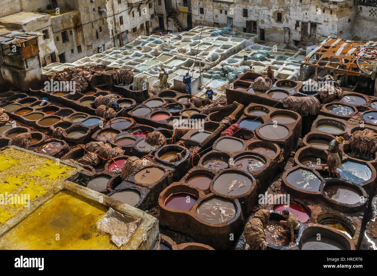 Gerberei in Fez, Marokko Stockbild