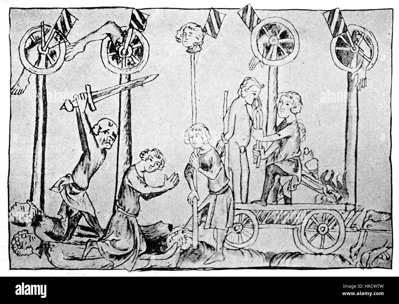 Ausführung eines Mannes, der Hochverrat begangen hat, es war Tebaldo de Brusati, Kommandant der Bresccia, das Stockbild