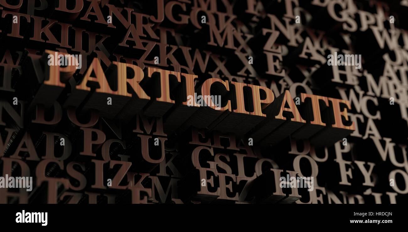 Mitmachen - hölzerne 3D gerendert Briefe/Nachricht.  Einsetzbar für ein Online-Banner oder eine gedruckte Stockbild