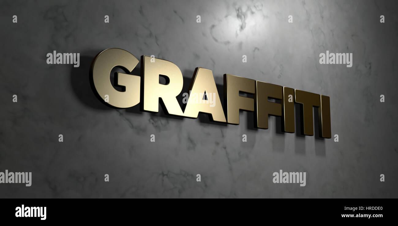 Graffiti Gold Schild Montiert Auf Glanzende Marmorwand Freie