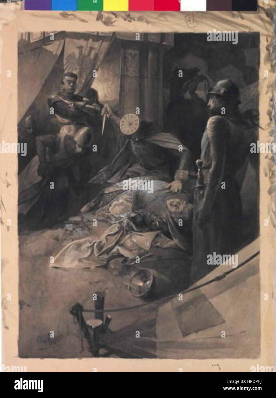 Autor Alfons Mucha 24.7.1860-14.7.1939 - Smrt Valdstejna - Ilustrace Ke Szenen et de Lhistoire dAllemagne Episoden Stockfoto