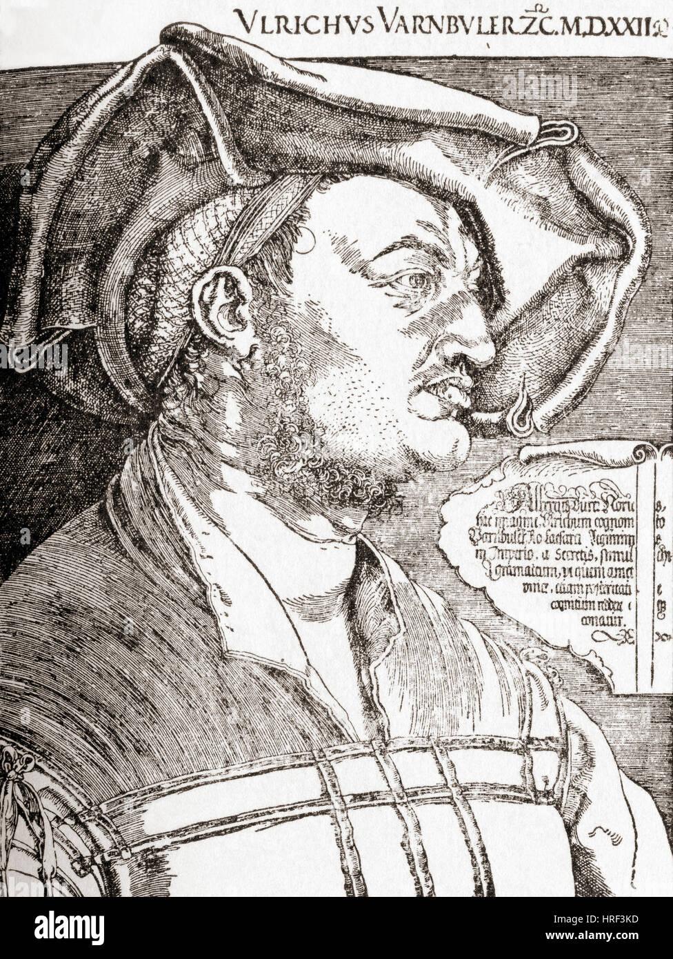Porträt des Ulrich Varnbüler im Jahre 1522, Bürgermeister von St. Gallen, Schweiz. Nach Albrecht Stockbild