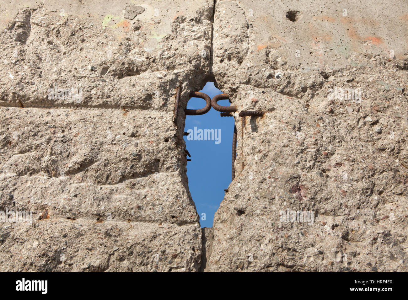Verbleibenden Abschnitt der Berliner Mauer. Topographie des Terrors, Berlin, Deutschland. Stockfoto
