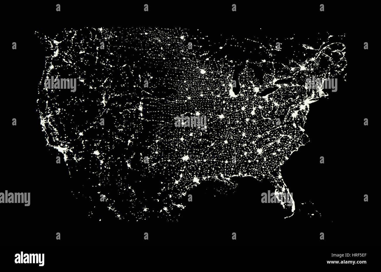 USA in der Nacht Stockbild