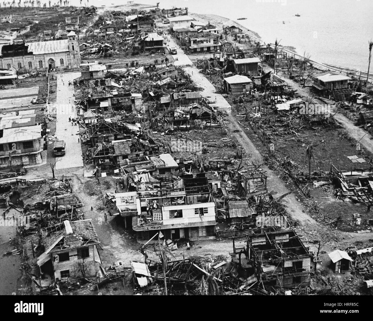 Taifun Joan Aftermath, Philippinen, 1970 Stockbild