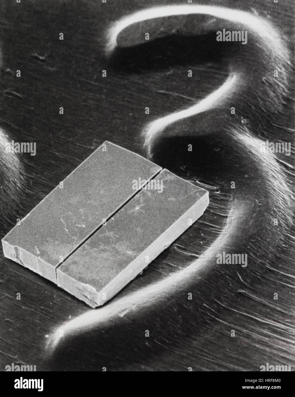 Laser auf einen Pfennig, 1983 Stockbild