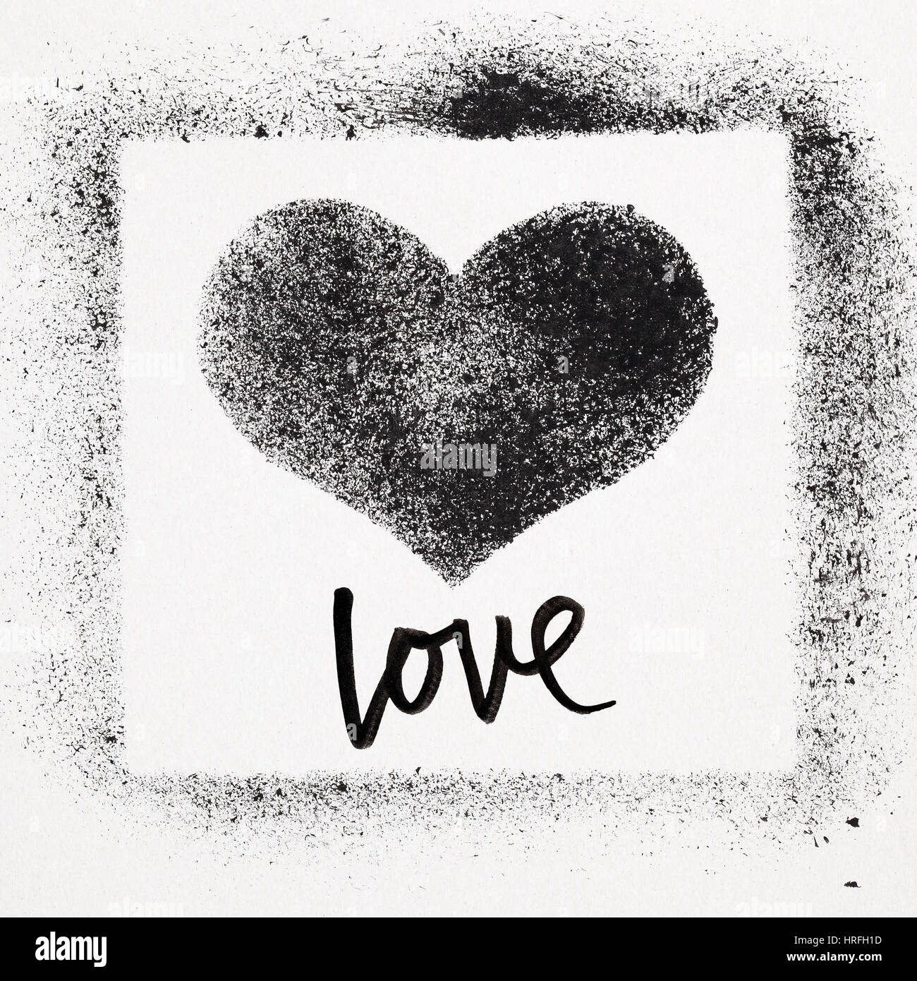 Liebe - Grunge Schablone Herzen. Street-Art Stil Valentines Karte ...