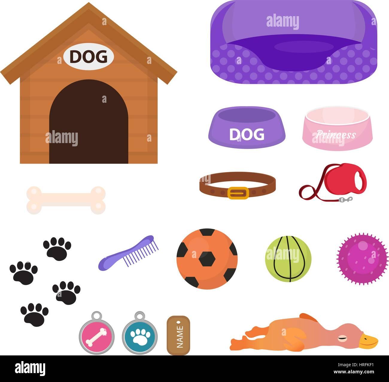 Hunde Sachen Kaufen : hunde sachen symbol set mit zubeh r f r haustiere flachen stil isoliert auf wei em hintergrund ~ Watch28wear.com Haus und Dekorationen