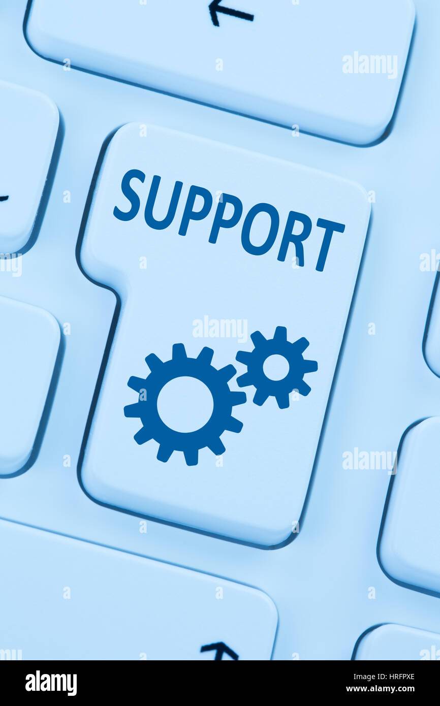 Support Customer Service Help online Internet blue Computer Tastatur Stockfoto