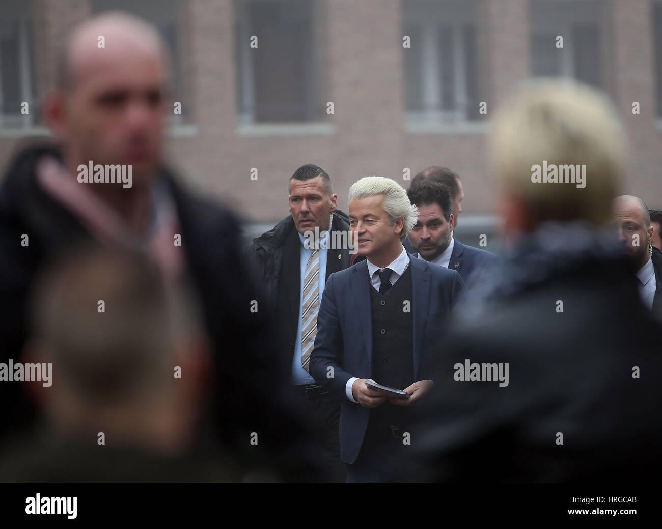 Süd-Holland, Niederlande. 18. Februar 2017. Der niederländische rechter Populist und Anführer der Stockbild