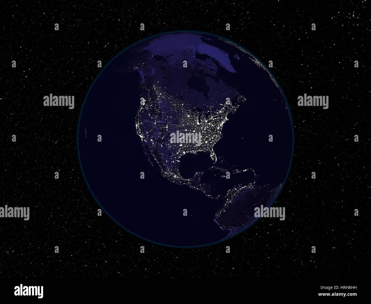Nordamerika in der Nacht Stockbild