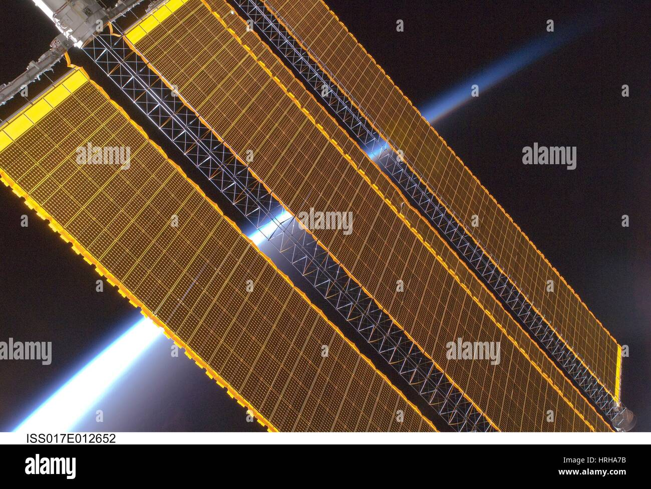 Expedition 17, ISS Solargenerator, 2008 Stockbild
