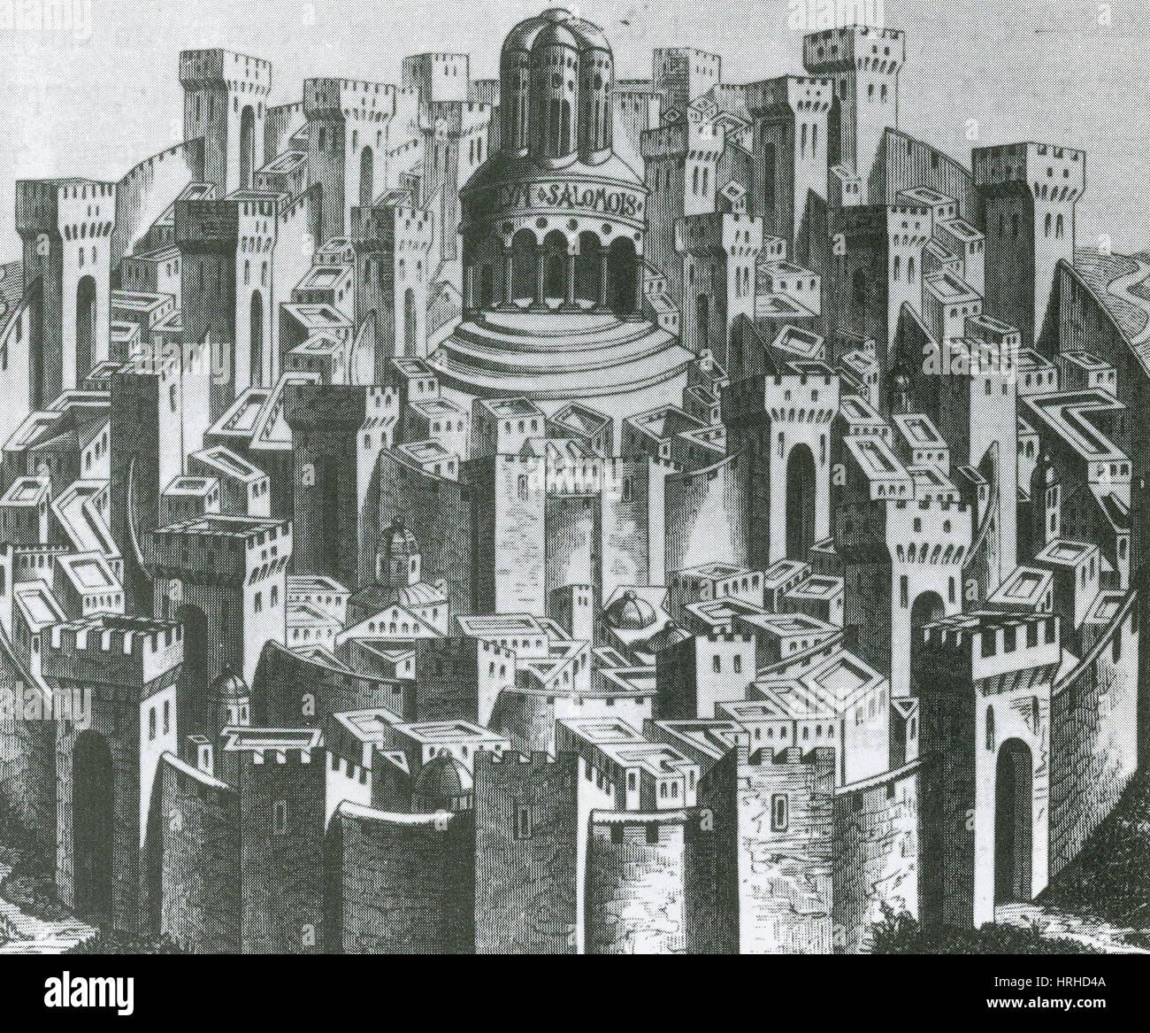15. Jahrhundert Holzschnitt von Jerusalem Stockbild