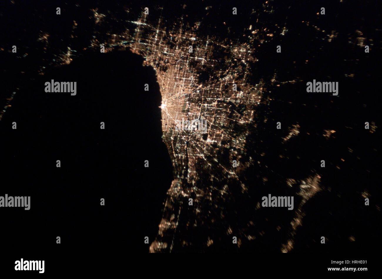Chicago in der Nacht Stockbild