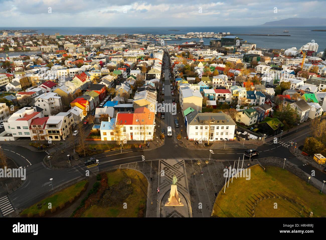 Überblick über das historische Zentrum von Reykjavik, Island, Polarregionen Stockbild