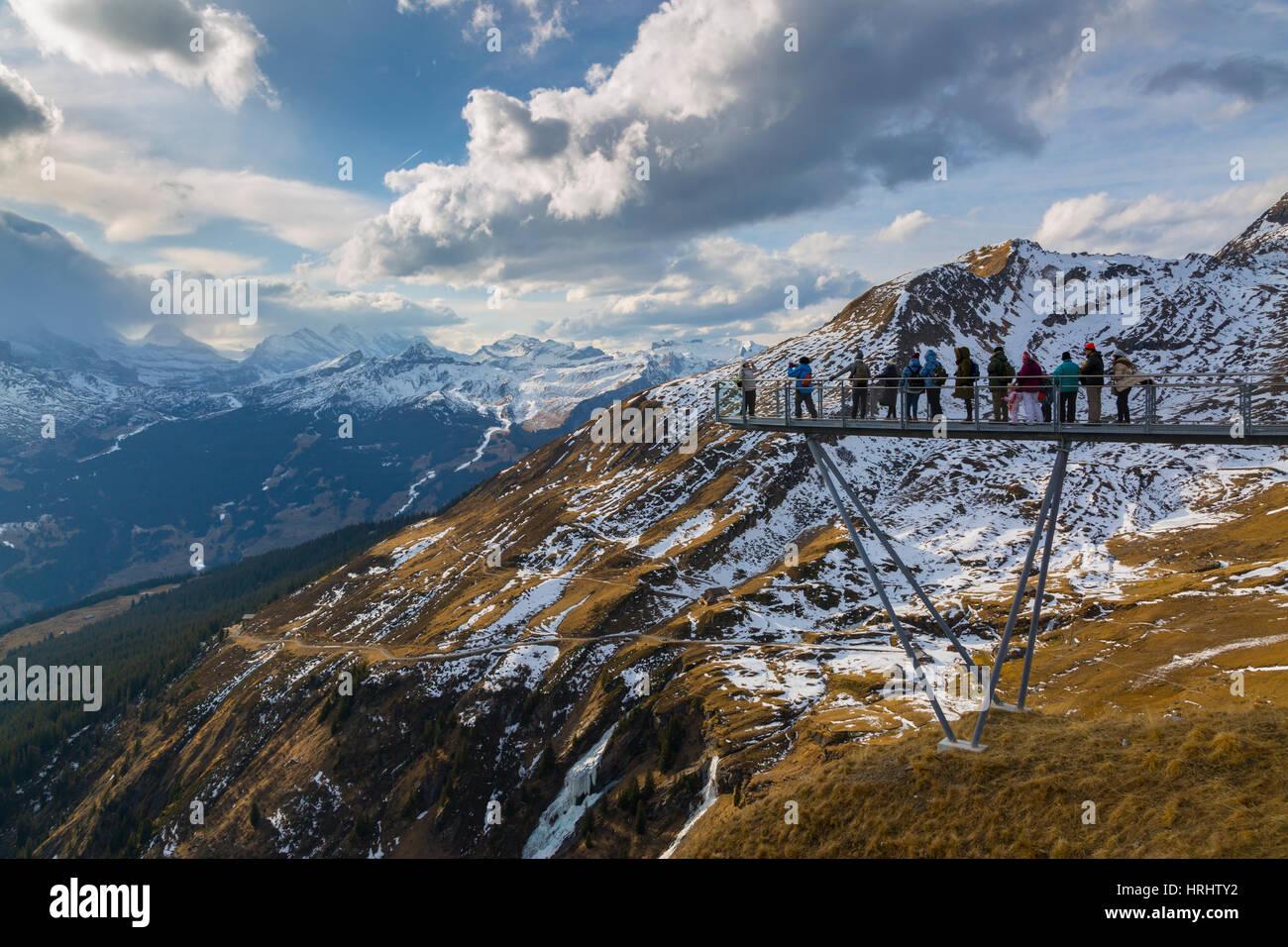 Blick von Grindelwald First, Jungfrauregion, Berner Oberland, Schweizer Alpen, Schweiz Stockbild