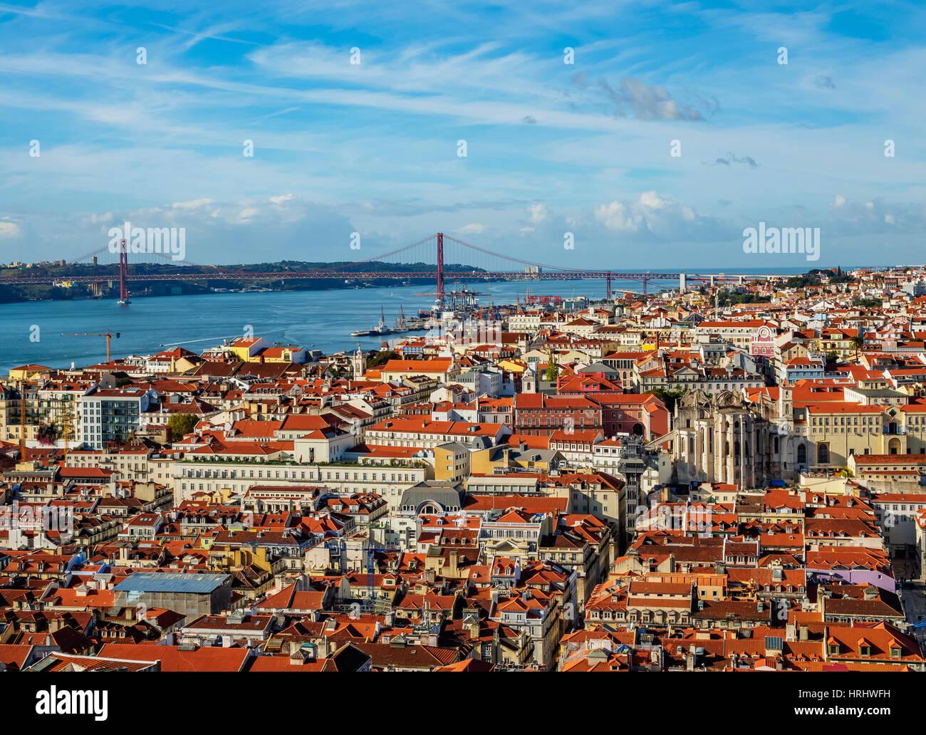 Stadtbild von Sao Jorge Castle, Lissabon, Portugal gesehen Stockbild