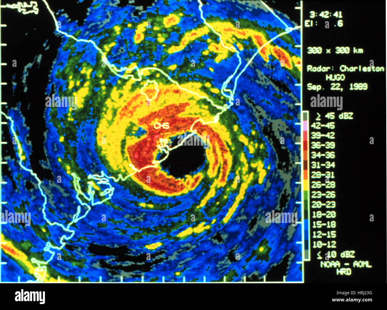 Hurrikan Hugo, digitalisiert Radarbild, 1989 Stockbild