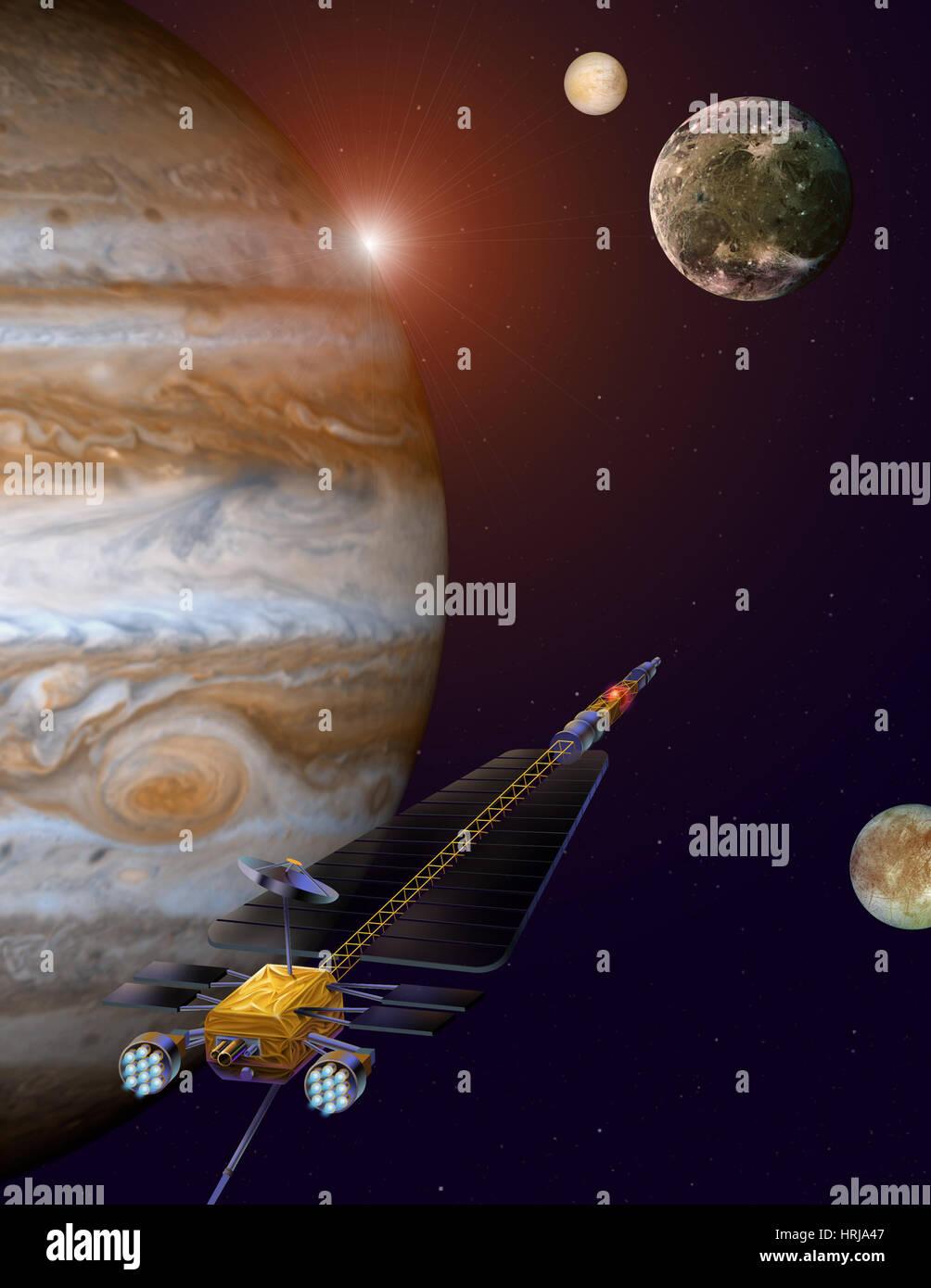 Jupiter Icy Moons Orbiter, Künstlers Konzept Stockbild