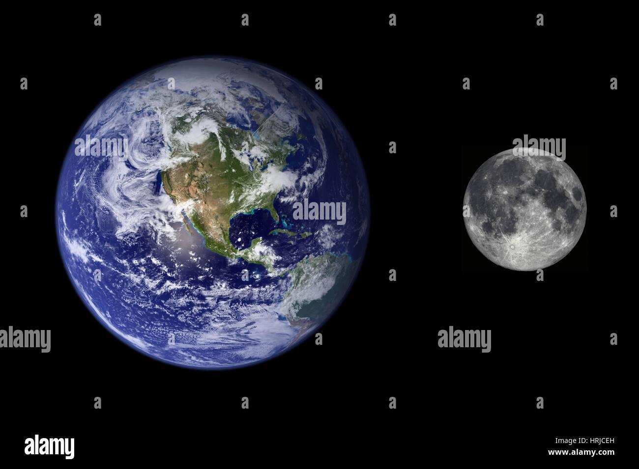 Erde und Mond Größenvergleich Stockfoto