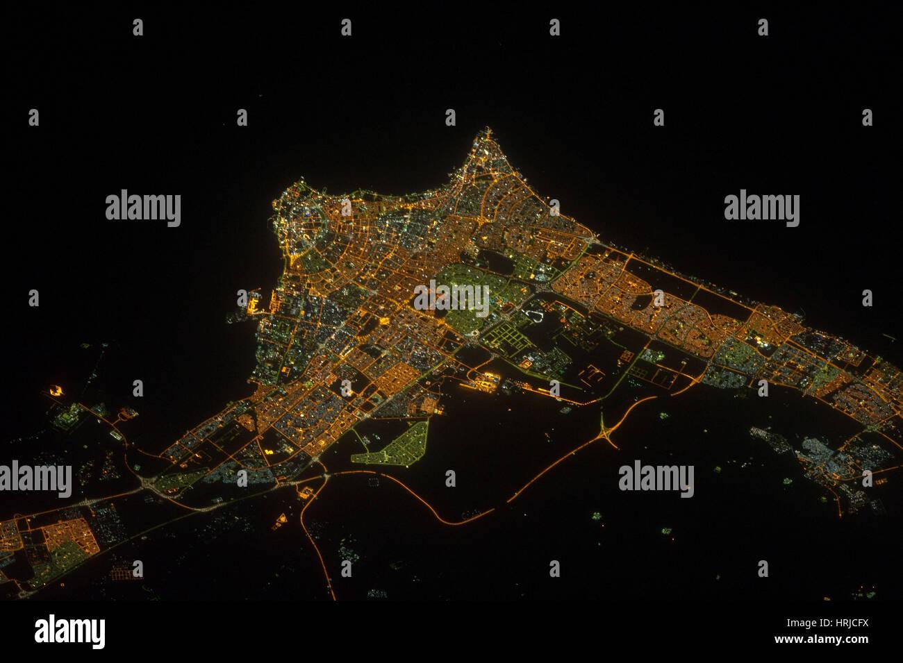 Kuwait-Stadt bei Nacht Stockbild