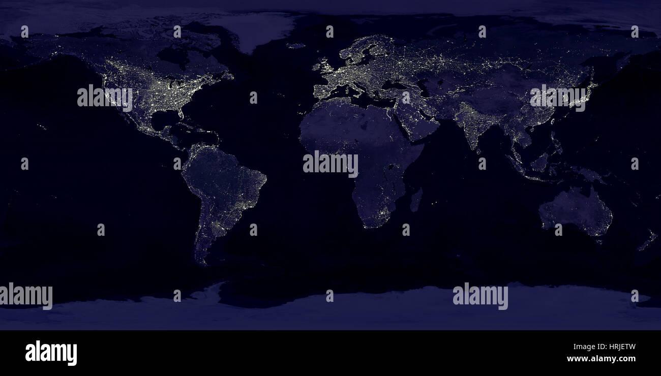Erde bei Nacht Stockbild