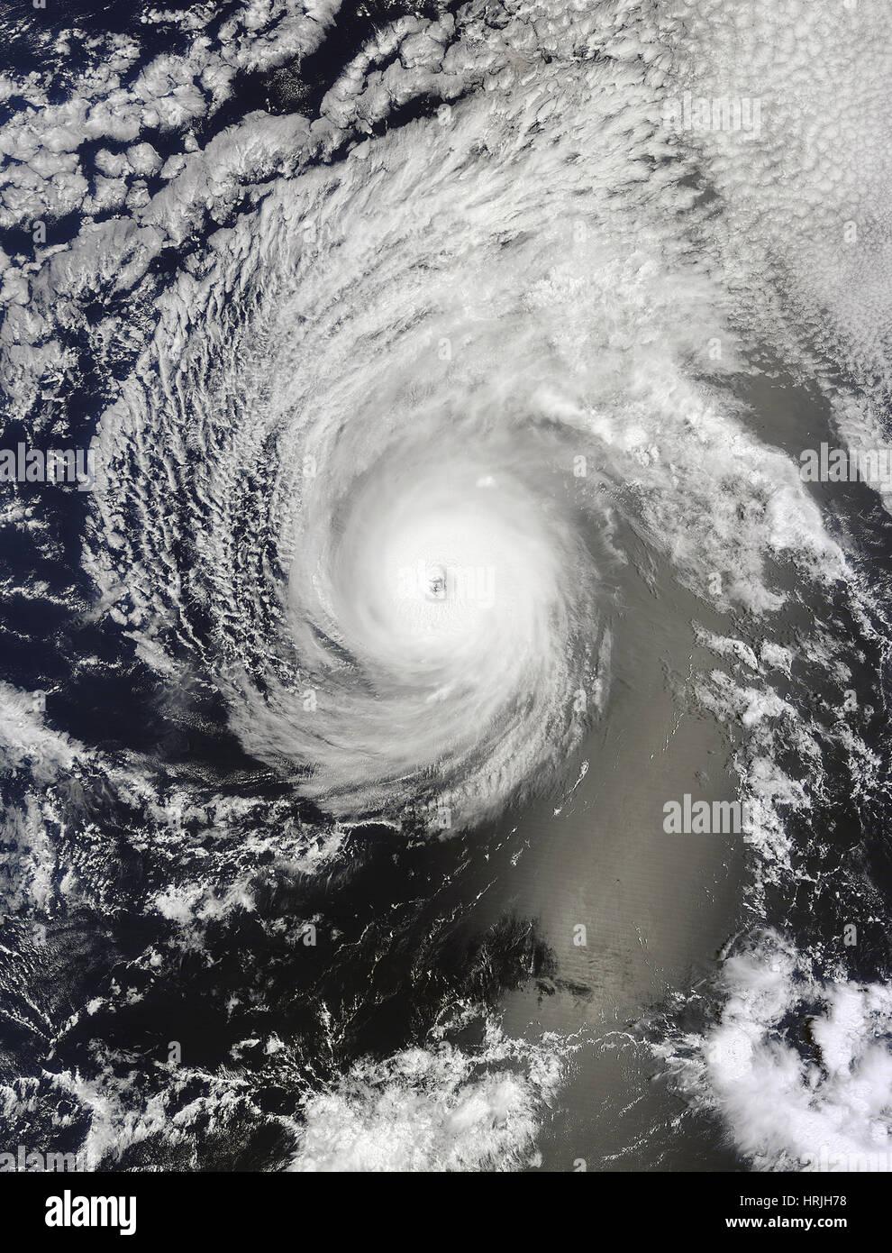 Satellitenbild des Hurrikans Iselle Stockbild